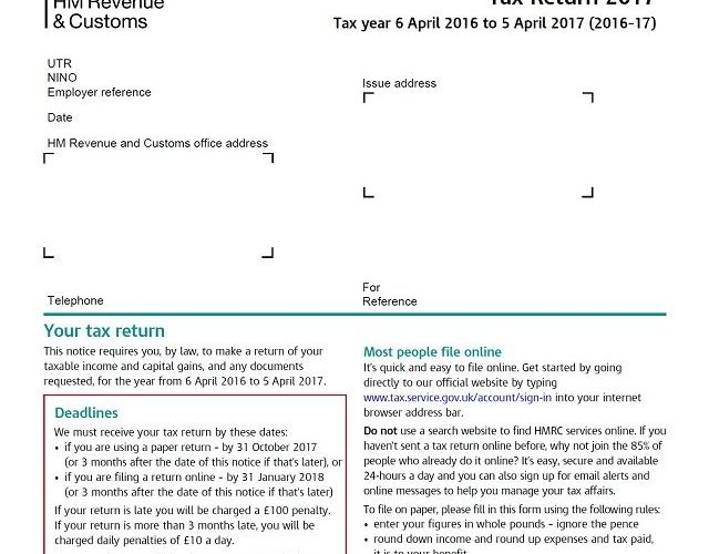 It's time to complete your 2017 HMRC personal tax return