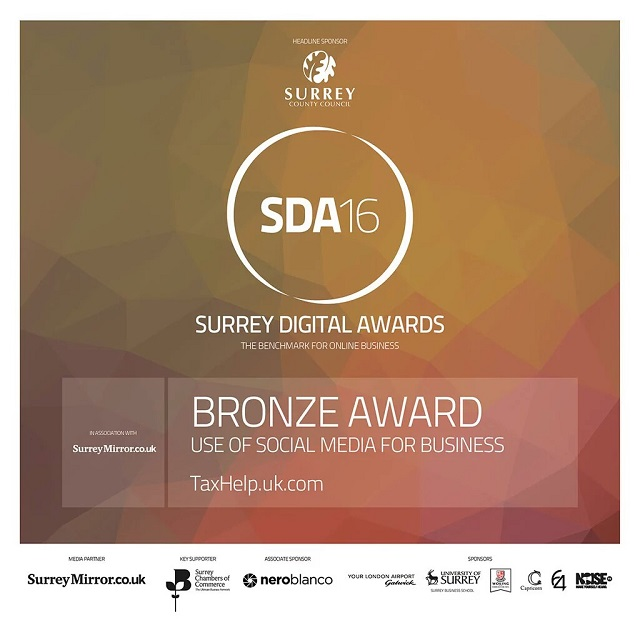 Bronze for taxhelp.uk.com in the 2016 Surrey Digital Awards
