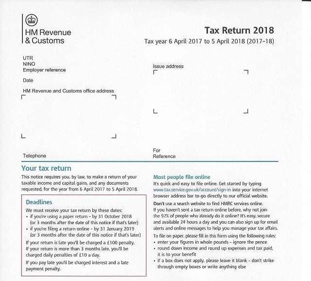 HMRC 2018 Tax Return Form