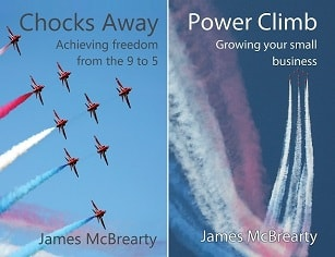 James McBrearty's books for small business owners - Chocks Away and Power Climb