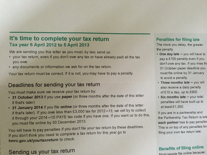 HMRC Self Assessment notice to complete a tax return